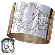 "Antique French Sterling Silver Napkin Ring, Classical Laurel Decoration, ""Jacques"" Inscription"