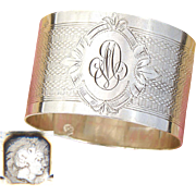"Antique French Sterling Silver Napkin Ring, Guilloche Style Decoration, ""MD"" Monogram"
