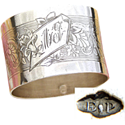 "Antique French Puiforcat Sterling Silver Napkin Ring, Guilloche Style Scrolling Decoration, ""MF"" Monogram"