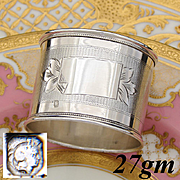 Antique French Sterling Silver Napkin Ring, Banner with no Monogram, Guilloche Style Decoration
