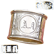 "Antique Russian Hallmarked .875 (nearly sterling) Silver Napkin Ring, Cyrillic ""AD"" Monogram"