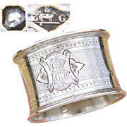 """Antique French Sterling Silver Napkin Ring, Guilloche Style Decoration, """"JB"""" or """"BJ"""" Monogram"""