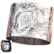 """Antique French Sterling Silver Napkin Ring, Ornate Louis XVI or Rococo Pattern, """"CD"""" Monogram"""