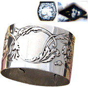 """Antique French Sterling Silver 2"""" Napkin Ring, Ornate Raised Floral Decoration, No Monogram"""
