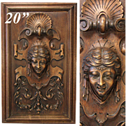 "Antique Victorian Carved Wood 20.5"" Furniture or Cabinet Panel, Plaque, Figural Bust"