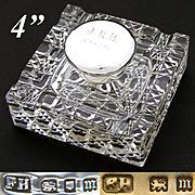 "Vintage 1927 English Brilliant Cut Crystal & Sterling Silver 4"" Inkwell, Facet Cut Base, ""J.R.B.  1878-1928"" Inscription"