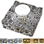 "Vintage 1927 English Brilliant Cut Crystal & Sterling Silver 4"" Inkwell, Facet Cut Base, ""J.R.B.  1878-1928"" Inscription"