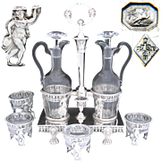RARE Antique French Oil & Vinegar Cruet Stand & 4pc Open Salt Set, Figural Tambourine Dancer, Lions, 1798-1809 Hallmarks