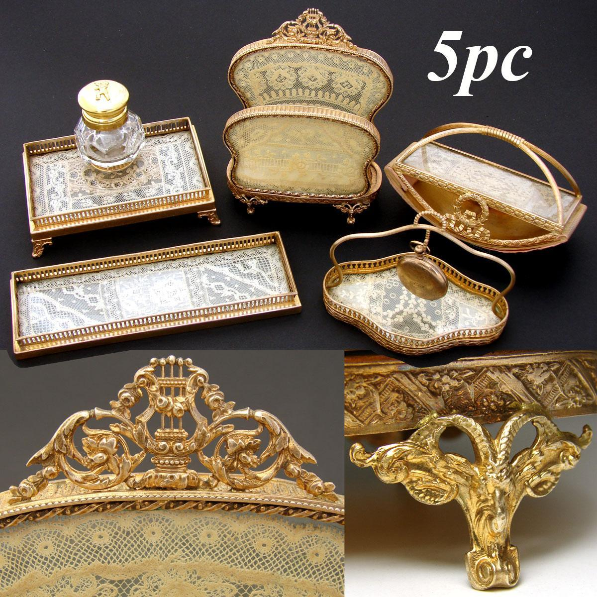 Lovely Vintage French Empire Style 5pc Desk Set Inkwell Stationery Stand Lace Gilt Ormolu