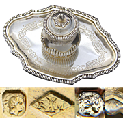 "Exceptional & Rare Antique French Sterling Silver 6"" Inkwell, Vermeil, Aesthetic Style"