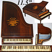 """Gorgeous Antique French Rosewood & Marquetry 11.5"""" Grand Piano Jewelry Box, Working Music Box"""