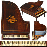 "Gorgeous Antique French Rosewood & Marquetry 11.5"" Grand Piano Jewelry Box, Working Music Box"