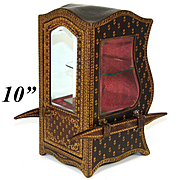 """Antique French 10"""" Gold Embossed Leather Covered Miniature Sedan Chair, Display Vitrine, Box"""