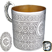 "Antique French Sterling Silver Coffee or Tea Cup, Ornate Gothic Style Pattern, ""CE"" or ""EC"" Monogram"