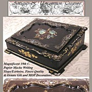 Superb 19th C. Papier Mache Writing Box/Slope, HP & MOP Decoration
