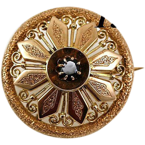 Beauty! Antique Victorian 14K - 15K Gold & Garnet Brooch