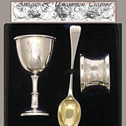 Antique English Sterling Silver 3pc Breakfast Set, Leather Box