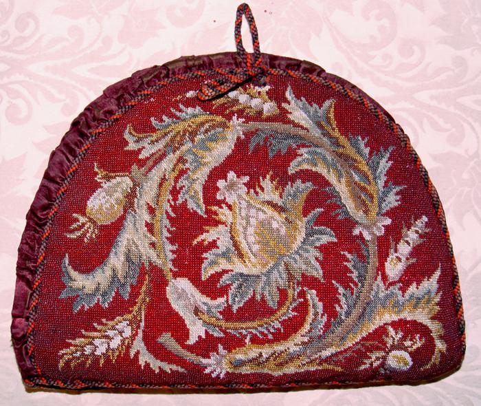 RARE & Superb Antique Victorian Beadwork Needlepoint Tea Cosy