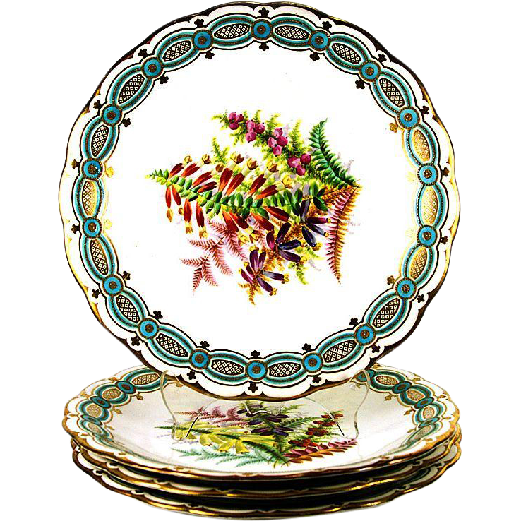 "Antique 4pc Hand Painted 8 3/4"" Cabinet Plate Set, Flowers with Turquoise & Gold Enamel Borders"
