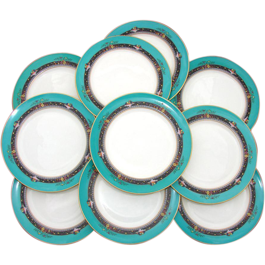 "Vintage Lenox 10pc 8.5"" Plate Set: Teal, Raised Floral Enamel"
