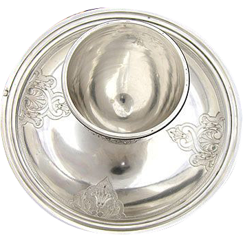 Fine Vintage French Sterling Silver Egg Cup & Attached Saucer
