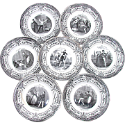 "Antique 7pc French Cabinet Plate Set, ""Pleasures of Household"", Creil et Montereau"