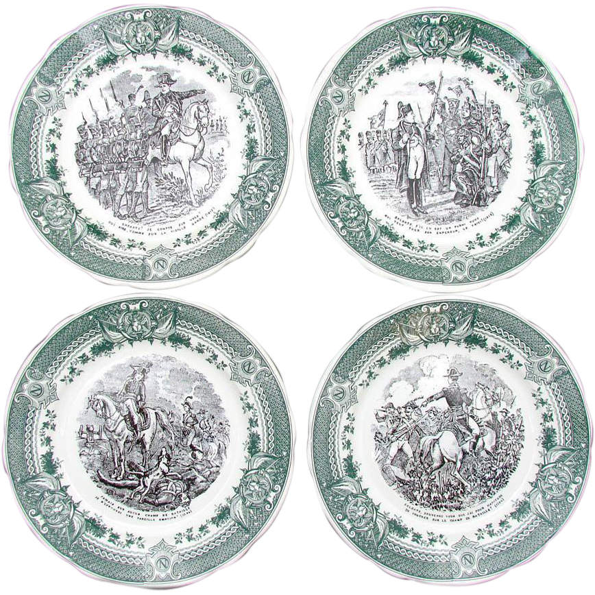 Vintage French 4pc Cabinet Plate Set, Napoleon Military Theme