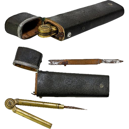 Antique Georgian 1700s Shagreen Drafting Tools Etui, Silver