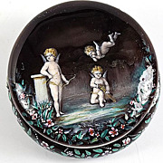 Fine Antique French Sterling Enamel Patch Box, Angels, Cupid, Putti