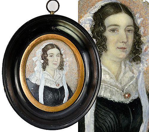 Antique Georgian Portrait Miniature, Lady in Lace, Jewelry