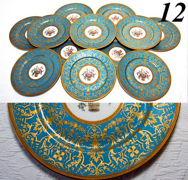 "Set: 12 Antique French 10 7/8"" Limoges Plates, Encrusted and Raised Gold, Celeste Blue"