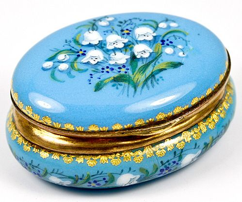 Petit Antique French Kiln-Fired Enamel Jewerly Casket, Box, Lilly of the Valley,EC!