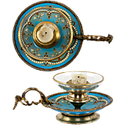 Antique French Kiln-Fired Enamel Candle Holder, Celeste Blue & Jeweled