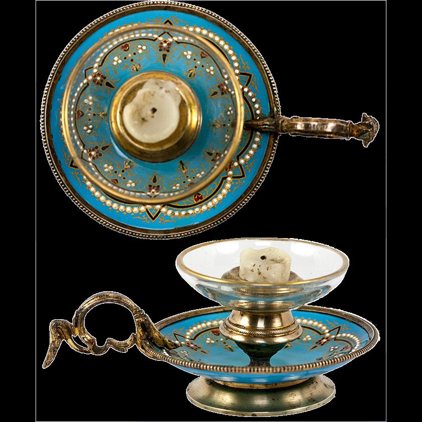 Antique French Kiln-Fired Enamel Candle Holder, Celeste Blue & Jeweled