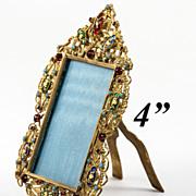 Antique French Jeweled 'Gem' Frame, Bresson Enamel Cabochons, Jeweled