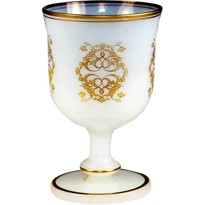 Antique French Opaline Marriage Goblet, Large and Excellent Condition