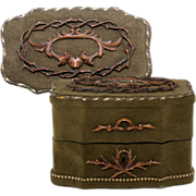 Antique French Jewelry Box, Chocolatiere's Casket, In Velvet with Carved Wood Motif, Cartouche & Escutcheon