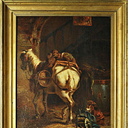 Superb Antique Oil Painting, Horse and Monkeys, French Listed Artist: Alfred Justin BLONDEAU (1850-?)