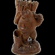 """Antique Black Forest Carved Bear Cigar & Match Server, or Spill Vase, 9"""" Tall"""