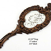 Antique Hand Carved Black Forest Wood Framed Hand Mirror, Wall Frame