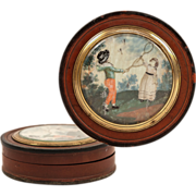Antique English Snuff Box, Hand Painted Miniature Portrait, 2 Children Play Badminton