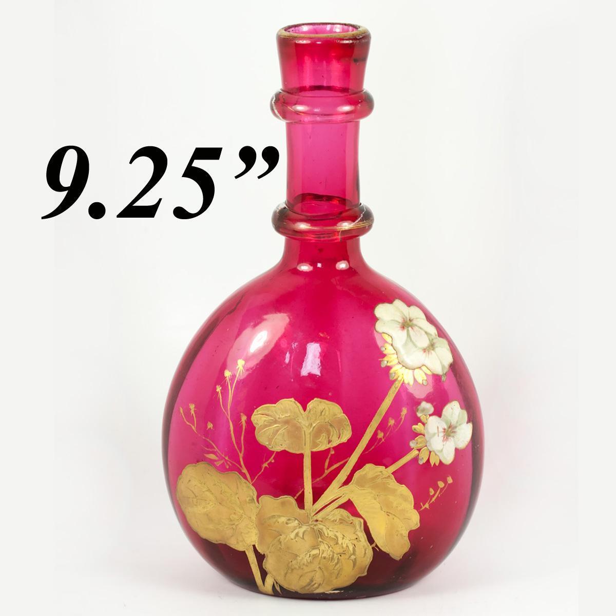 Mont Joye Antique French Cranberry Glass Carafe, Heavy Gold Enamel, Art Nouveau