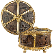 "Unique Antique French 8"" Round Jewelry Casket, Carved  Wood & Ormolu"