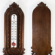 "Antique Hand Carved Black Forest Plaque or French Thermometer Mount, 14"" Long, Oak Leaf"