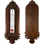 """Antique Hand Carved Black Forest Plaque or French Thermometer Mount, 14"""" Long, Oak Leaf"""