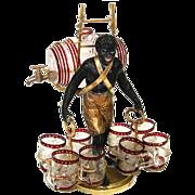 Rare Antique French Blackamoor Liqueur Cabaret or Serving Set, Figural & c.1850-70.
