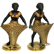 RARE Antique French Blackamoor Female Figure with Basket for Flowers, etc, Figural & c.1850-70.