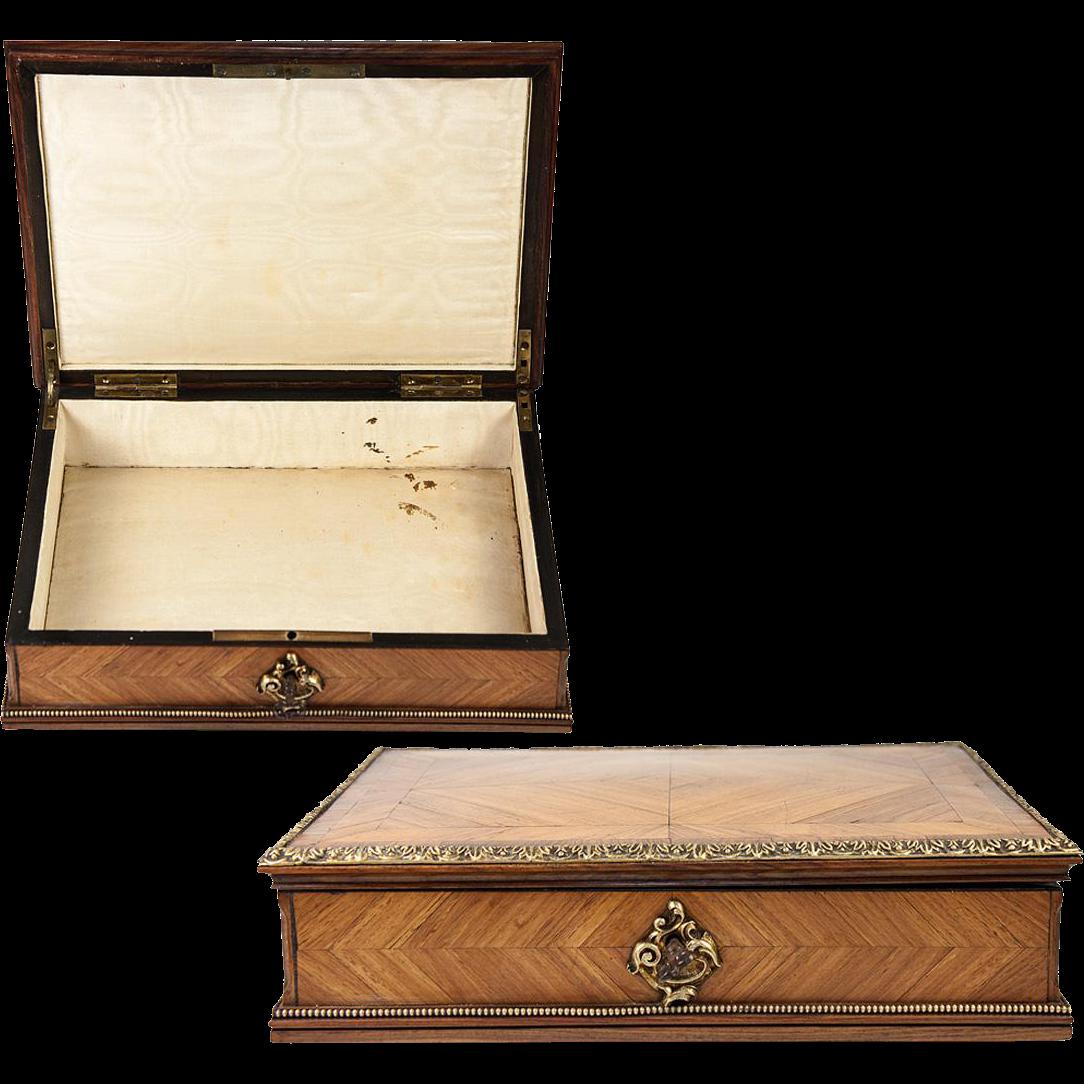 Fine Antique 1800s French Kingwood Amp Ormolu Jewelry Box
