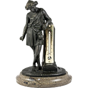 Antique French Bronze Statue on Marble Base, Opulent Thermometer Stand. Neo-Classical