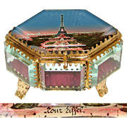 Antique Eglomise Souvenir Box, Jewelry Casket, 6-Sided with the Eiffel Tower